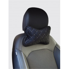 Автомобильные подушки под голову из Велюра (черная/ с белой нитью)